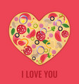 valentines day menu design pizza heart vector image