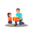volunteer giving gift to little girl social vector image vector image