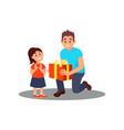 volunteer giving gift to little girl social vector image