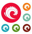 wave water surfing icons circle set vector image vector image