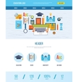 Web design template with icons of education vector image