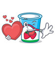 with heart yogurt mascot cartoon style vector image
