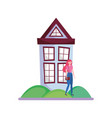 young woman standing front house grass vector image
