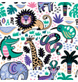 fashion safari seamless pattern with jungle vector image