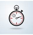 Black and red stopwatch icon with shadow isolated vector image