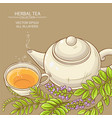 cup of licorice tea and teapot vector image