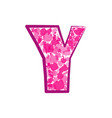 english pink letter y on a white background vector image