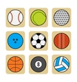 Sports balls Set of flat color icons vector image
