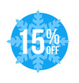 15 off sticker winter sale vector image