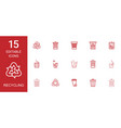 15 recycling icons vector image vector image