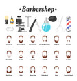 barbershop tools beards mustaches vector image