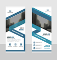 Blue roll up business brochure flyer banner design vector image
