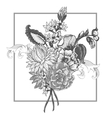 bouquet vintage flowers with swirls vector image vector image