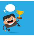 business man jumping with trophy vector image vector image