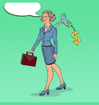 business woman with key on her back pop art vector image vector image