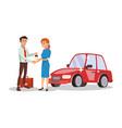 car dealer salesperson choosing new vector image