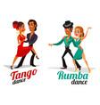 cartoon a couples dancing tango and vector image