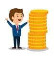 cartoon man money earnings design isolated vector image