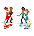 cartoon of a couples dancing tango vector image