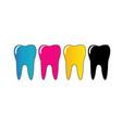 CMYK tooth logo vector image vector image