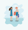 couple of women with shopping bags characters vector image