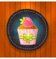 cupcake with chocolate and strawberry vector image vector image