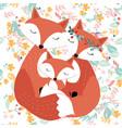 cute fox family in spring garden seamless pattern vector image vector image