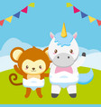 cute little monkey and unicorn on field vector image