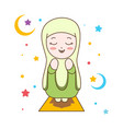 cute muslim girl praying muslim religion vector image vector image
