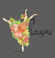 dancing ballerina in flowers vector image vector image