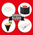 delicious sushi vector image vector image