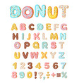donut icing latters font of donuts bakery sweet vector image vector image