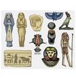 egyptian symbols pharaon scorob hieroglyphics vector image vector image