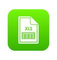 file xls icon digital green vector image vector image