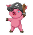 funny pig in costume pirate with sword vector image