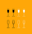 glass champagne set black and white icon vector image vector image