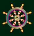 golden dharma wheel buddhism vector image
