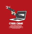 Gun In Hand Cyber Crime Concept vector image vector image