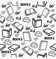 hand drawn books doodles seamless pattern vector image vector image