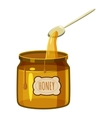 Jar of honey with spoon icon cartoon style vector image vector image