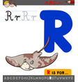 Letter r with cartoon ray animal character