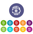 make money icons set color vector image