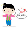 malaysia woman national dress cartoon vector image