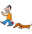 man with dachshund cartoon vector image