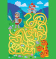 maze 1 with knight and dragon theme vector image vector image