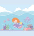 mermaid with dolphin octopus fishes coral cartoon vector image vector image