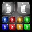 Mobile phone icon sign Set of ten colorful buttons vector image vector image