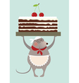 mouse cook and cake vector image vector image