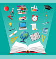 opened book and education items vector image