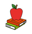 pile text books and apple vector image vector image